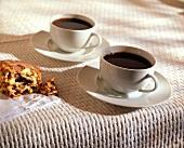 Two Cups Black Coffee; Cinnamon Scone
