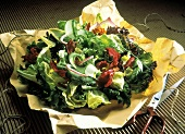 Assorted Lettuce and Red Onion Salad; Butcher's Paper