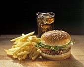 Hamburger with French Fries and a Coke