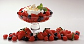 Fresh Berries in Pedestal Dish; Whipped Cream