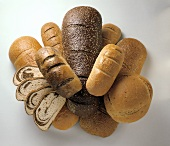 Various Types of Bread Loaves from Overhead