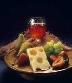 Red Wine with Swiss Cheese and Fruit