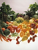 Gemüse und Obst, frisch gewaschen