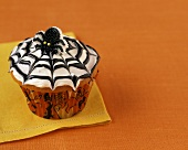 Cupcake with Spider and Spider Web Decoration