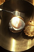 Poached Egg on an English Muffin; Fork