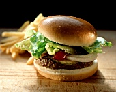 Hamburger with Lettuce and Ketchup; Fries