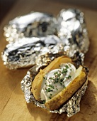 Baked Potatoes in Foil; One Opened