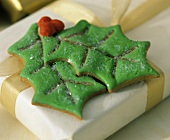 Two Christmas Cookies as Decoration on a Present