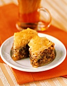 Two Pieces of Baklava on a Plate