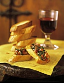 Bruschette (Toast with tomato and caper topping, Italy)