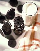 Oreo Cookies with a Glass of Milk