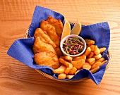 Fish and Chips in a Basket with Cole Slaw