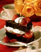 Brownie Filled and Topped with Whipped Cream and Strawberries