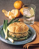 Chicken Burger with Sprouts on a Sesame Seed Bun