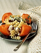 Pasta Salad with Feta and Olives on Tomato Wedgees