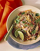 Rice Noodles with Red Cabbage Shredded Carrot and Chicken
