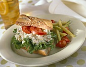 Egg Salad Sandwich with Lettuce and Tomato; Wax Beans