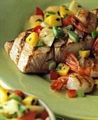 Mahi-Mahi with Tropical Salsa and Shrimp