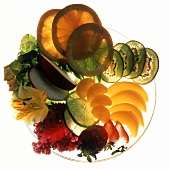 Assorted Fruit Slices on a Plate