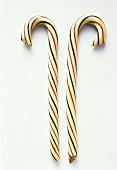 Two Candy Canes with Red and Green Stripes