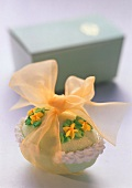 Marzipan Easter Egg Wrapped in Yellow Ribbon