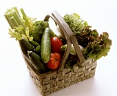 Still Life of Assorted Vegetables in a Basket