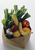 Fresh Fruit and Vegetables in a Paper Grocery Bag