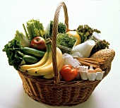 A Basket Full of Assorted Produce Vegetables Fruit Dairy and Bread