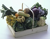 Many Vegetables in a Handled Wooden Box