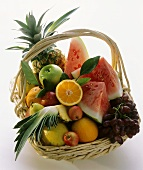 Still Life of Many Assorted Fruit in a Basket