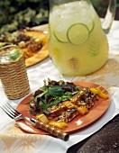 Grilled Tofu Skewers; Side Salad