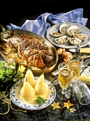 Full Course Meal; Oysters; Roast Lamb; Poached Pears