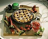 Strawberry Rhubard Pie with Ingredients