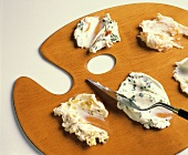 Assorted Cream Cheese on a Palette