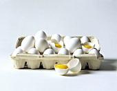 Cracked Eggs in Carton