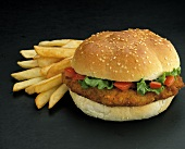 Breaded Chicken Sandwich; French Fries