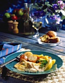 Halibut Fillet with Cheese and Mushrooms; Potatoes