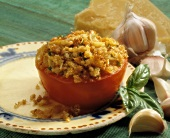 Tomato Stuffed with Bread Crumb and Cheese