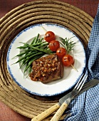 Grilled Venison with Fruit Sauce; Tomatoes and Green Beans