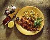 Grilled Shrimp with Paprika and Lemon; Cold Slaw