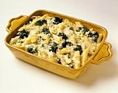 Nudelauflauf mit Geflügel, Brokkoli und Käse in Auflaufform
