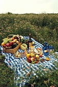 A Picnic Set in a Field of Wild Flowers