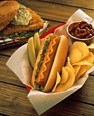 Hot Dog with Chips and Pickle; Fried Fish Sandwich/nSee Image #606367
