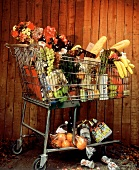 A Full Shopping Cart and a Wooden Fence/nSee Image #612563