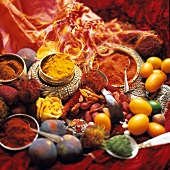 Colorful Spice Still Life with Exotic Fruit