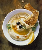 Hummus with Olive Oil and Challah