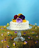 Coconut Cake with Pansies