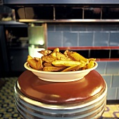 Steak Fries on a Diner Stool
