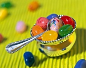 Small Silver Bowl Filled with Jelly Beans