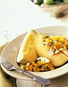 Chicken Papaya Salad with Cantaloupe Slices
